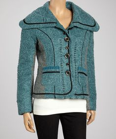 Take a look at this Teal Button Jacket by Montanaco on #zulily today!