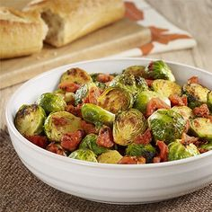 Oven Roasted Brussels Sprouts with Tomatoes: An oven prepared side dish recipe combines Brussels sprouts with fire roasted diced tomatoes and seasonings for great flavor