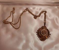 1920s Art Deco 20s NOUVEAU GOLD 12KT PENDANT & CHAIN Marked