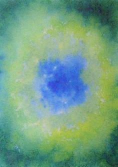 1. ultramarine blue is foaming at the center of the paper trying to find a dark center that gradually becomes clearer  2. Prussian blue, from outside, creates a beautiful setting in flakes around overseas areas. The edges of the sheet darker, lighter toward the center, where he meets the other blue  3. yellow lemon jumps on Prussian blue starting from the four corners of the sheet toward the center. Wash and dry the brush every time you want to dip into the yellow. Towards the center use…