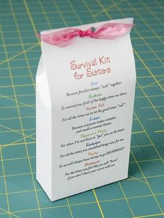 Sister Survival kit. This is such a cute idea my daughter is making one for her sister. This homemade gift is a good idea for a birthday or christmas etc. It is sweet but also maybe the strangest gift you will ever get given. The whole point of tis gift is too give your sister items and how they show how much you love her. There are so many ideas on what you can give. so sweet. by melinda