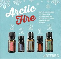 Arctic Fire Essential Oil Diffuser Blend 2 drops Wintergreen 2 drops Juniper Berry 2 drops White Fir 1 drop Cinnamon Bark 2 drops Cypress How many drops of essential oil to diffuse at a time?  I like to diffuse about 5 drops in my AromaLite diffuser.  You can do a little more according to personal preference,  but the recipes that use large amounts for the number of drops,  I would use as mix ahead blends.  Hope this helps!!!