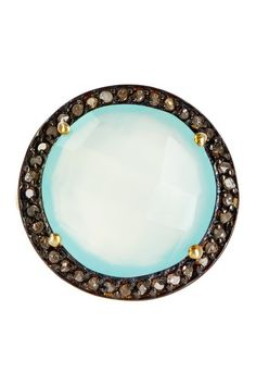 Diamond Halo Sea Green Chalcedony Ring by Forever Creations USA Inc. on @HauteLook