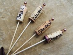 Herb Garden Markers  Cork with Faux Pearls by SassyDefined on Etsy, $5.00