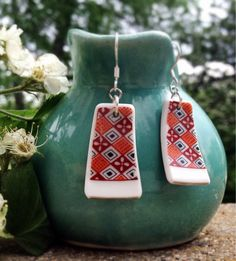 Vintage Red & Orange broken china earrings, plate jewelry upcycled repurposed recycled on Etsy, $30.00