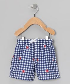 Take a look at this Blue Gingham Swim Trunks - Infant & Boys by Azul Swimwear on #zulily today!