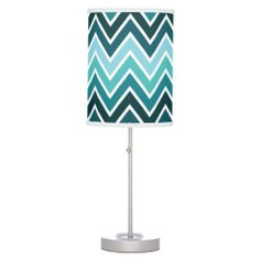 Mixed Teal Chevron Stripe Lamp