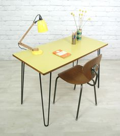 HAIRPIN LEGS RETRO VINTAGE SCHOOL INDUSTRIAL MID CENTURY FORMICA DESK 1950s 60s | eBay