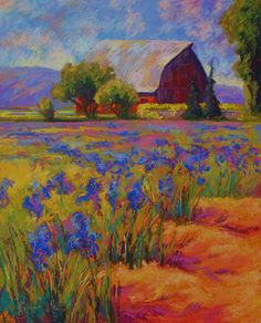 Iris Field Painting by Marion Rose