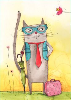 Lucie Georger - ilustrador Illustration, Disney Characters, Fictional Characters, Kitty, Dogs, Painting, Animal, Art, Ideas
