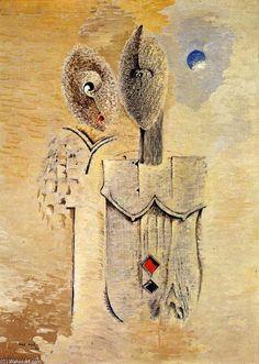 'zwei schwestern', öl auf leinwand von Max Ernst (1891-1976, Germany)