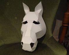Animal masks Halloween masks DIY masks PDF by GreenMindedWolf Halloween Masks, Diy Halloween, Horse Mask, Horse Head, Cardboard Mask, Cardboard Sculpture, Unicorn Mask, Paper Mache Animals, Clay Animals