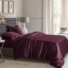 Online shopping for grape silk duvet covers, interior corner ties are available to keep the duvet in place.
