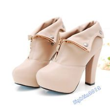 New Women Thick High Heel Platform Ladies Shoes fastener Pump Zipper Ankle Boots