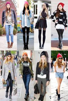 Nesse dia frio que tal ficar quentinha dos pés a cabeça ? A nova moda agora é combinar toucas coloridas com looks sóbrios e básicos. ( preto , branco , jeans ) .  E só montar um look bacana e se inspirar !