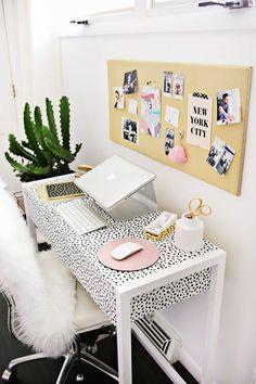 Fun print desk and fur blanket