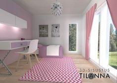 3D- visualisointi ja sisustussuunnittelu ennakkomarkkinoinnissa olevaan kohteeseen/ tytön pinkki  makuuhuone, valkovahattu tammiparketti, pinkit verhot, valkoiset maalatut seinät, pinkki tehosteseinä, Norm-valaisin/ Keski-Suomen Rakennuskeskus, Korteniityntie 15-21/ 3D-sisustus Tilanna