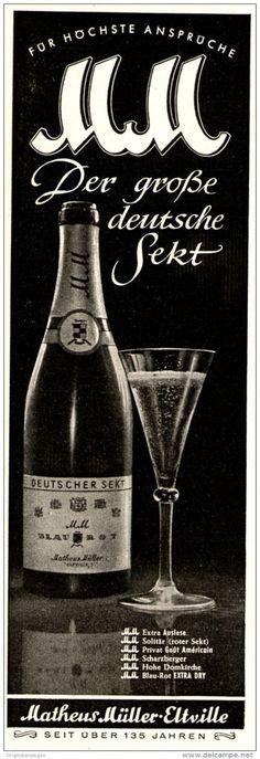 Original-Werbung/ Anzeige 1951 - MATHEUS MÜLLER ELTVILLE / MM-SEKT - ca. 60 x 190 mm