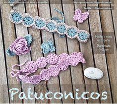 Patuconicos Hecho a mano en crochet diademas bebe Patuconicos sencillas de círculos con dos colores o con adorno (mariposa, flor, estrella) Precio 8€  la unidad (gastos de envio no incluidos.
