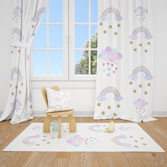 Excited to share this item from my #etsy shop: Watercolor Rainbows and Clouds Baby Girl Room Curtain Nursery Curtains Window Curtains