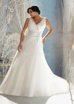 Canny Dropped Waist Organza V Neck A line Floor Length Plus Size Wedding Dress