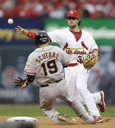 Game 3 of the NLCS- Pete Kozma turns the double play 10-17-12