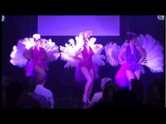 Sugar Blue Burlesque's Coco Poppin, Scarlet O'Harlot & Ruby Slippers perform the group feather fan dance at the Chronicles of Burlesque Show, 23rd February 2...