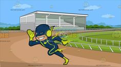 A Man Dressed In A Flash Costume At A Horse Racing Track :  A man wearing a teal blue with neon green body suit and head mask neon green gloves boots and a lightning like ear cover grins while running very fast. Set in an oval track with tan colored soiling white rails grass a white grand stand with bleachers and roof during a sunny day.