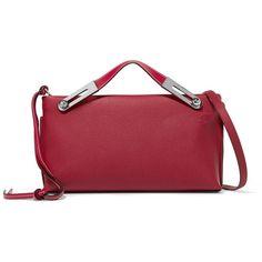 Loewe Missy textured-leather shoulder bag (6,560 SAR) via Polyvore featuring bags, handbags, shoulder bags, red crossbody purse, crossbody purse, crossbody pouch, red cross body handbags and zipper shoulder bag