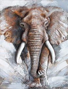 Tavla 3D Olje Målning Elefant