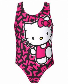 Hello Kitty Kids Swimwear, Little Girls or Toddler Girls Printed One-Piece Swimsuit - Kids Toddler Girls (2T-5T) - Macy's