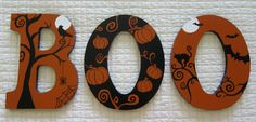 "BOO - Halloween Hand Painted 9"" Wooden Letters by DecorativeDecoupage on Etsy, $20.00"