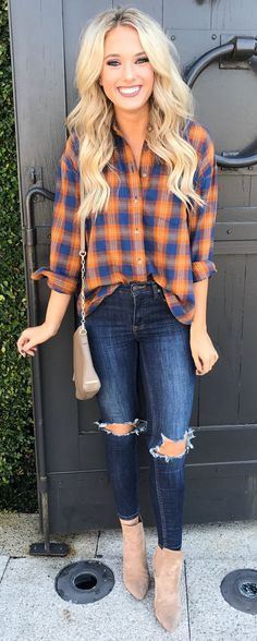 #winter #outfits blue-gray-and-orange plaid sport shirt, distressed blue denim fitted jeans, brown leather crossbody bag, and pair of brown suede heeled boots outfit