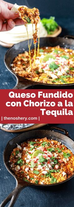 Magic happens when cheese is melted. Queso fundido is magic in a cast iron skillet and baked in the oven until bubbly, ooey and gooey! Pork Recipes, Gourmet Recipes, Mexican Food Recipes, Cooking Recipes, Healthy Recipes, Ethnic Recipes, Mexican Cooking, Dip Recipes, Delicious Recipes