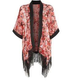 Mela – Roter Kimono mit Fransensaum