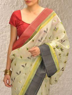 Buy Ivory-Green Handloom Silk Saree by Ekaya Online Indian Silk Sarees, Ethnic Sarees, Indian Beauty Saree, Trendy Sarees, Stylish Sarees, Indian Attire, Indian Outfits, Indian Wear, Saree Blouse Designs