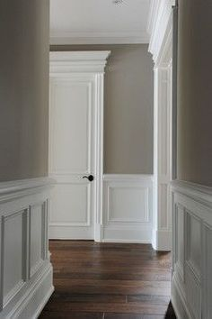 The molding and millwork is amazing. The wall color is stunning. The molding and millwork is amazing. The wall color is stunning. Home Renovation, Home Remodeling, Bathroom Remodeling, Faux Wainscoting, Wainscoting Ideas, Wainscoting Bathroom, Wainscoting Height, Dining Room Wainscoting, Bathroom Wallpaper
