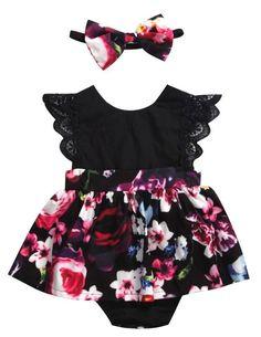 Black Floral Baby Girl Dress #BabyClothing