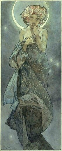 Mucha. The Moon and the Stars: study for 'The Moon' (1902)