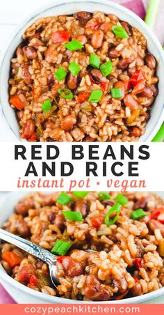 Make vegan red beans and rice in your Instant Pot in using dry beans and brown rice! This easy, healthy takes just over an hour to make. pot recipes easy healthy dinner Instant Pot Vegan Red Beans and Rice Healthy Chicken Recipes, Healthy Dinner Recipes, Whole Food Recipes, Vegetable Recipes, Cooking Vegetables, Chicken Meals, Easy Recipes, Wallpaper Food, Mexican Breakfast Recipes