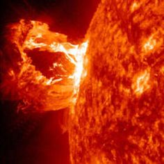 This is a CME (Coronal Mass Ejection) from April 2012.  CMEs pose a threat to our power grid, so it's important for us to learn more about them.  Often these giant explosions on the sun will create a Solar Tsunami that scientists can use to study the magnetic field of the sun!