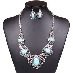 Fashion Turquoise Silver Plating Necklace Earrings Jewelry Set