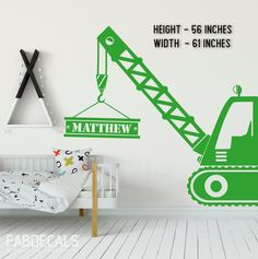 Construction Crane With Personalized Name Wall Decal, Kids Room Decor. Name Wall Decals, Kids Wall Decals, Nursery Wall Decals, Boys Bedroom Decor, Nursery Decor Boy, Outer Space Decorations, Boys Construction Room, Room Themes, Boy Room Paint