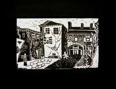 Podwórko, linocut 2001  #linocut #linoryt #print #printing #druk #drukowanie #uljado