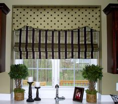 Cornice Board So glad I found this combo of stripes and dots since I already bought it for my kitchen!