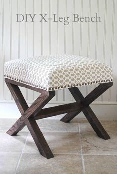 for DIY X Bench X Leg Upholstered Bench.like the pic I saw. All I need it the Mitter Saw!X Leg Upholstered Bench.like the pic I saw. All I need it the Mitter Saw! Furniture Projects, Furniture Makeover, Home Projects, Home Furniture, Furniture Making, Bench Furniture, Concrete Furniture, Furniture Plans, Bedroom Furniture