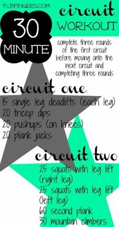 The Pinterest 90: Day 11- 30 minute Circuit workout... Hits on the whole body. Hardcore
