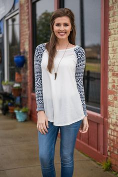 """""""Only One Way Top, Navy"""" 