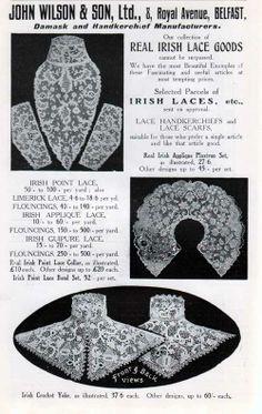 John Wilson & Son, Ltd of Belfast offered Damask and Handkerchief goods for Women. This advertisement form 1907 featured Irish Crochet Yoke that was worn by women of class. Crochet Yoke, Irish Crochet, 1900s Fashion, Vintage Fashion, Magazine Illustration, Irish Traditions, Period Outfit, Irish Lace, Belfast