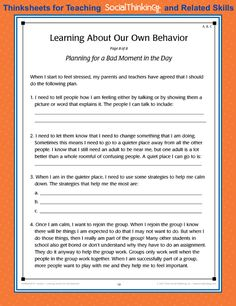 Thinksheets for Teaching Social Thinking and Related Skills Activities For Teens, Therapy Activities, Group Activities, Therapy Ideas, Behavior Interventions, Behaviour Chart, Social Emotional Learning, Social Skills, School Social Work